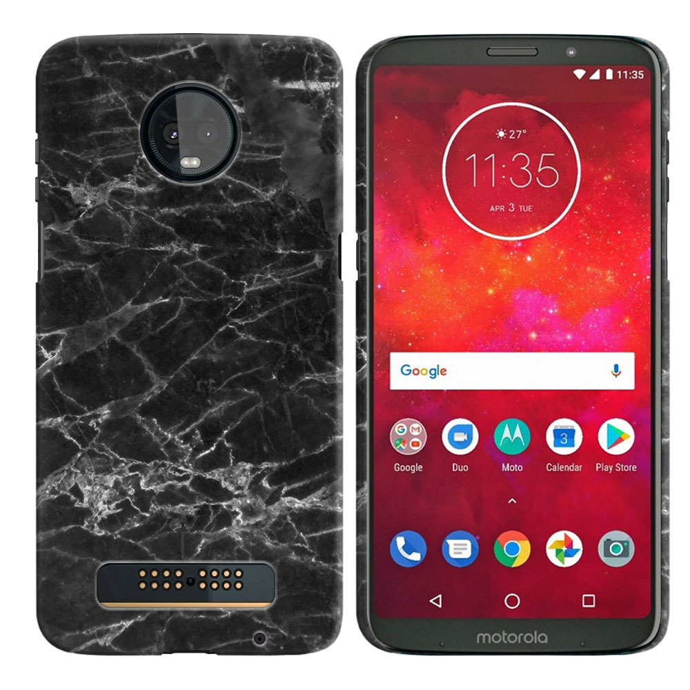 Motorola Moto Z3 Play Black Stone Marble Back Cover Case
