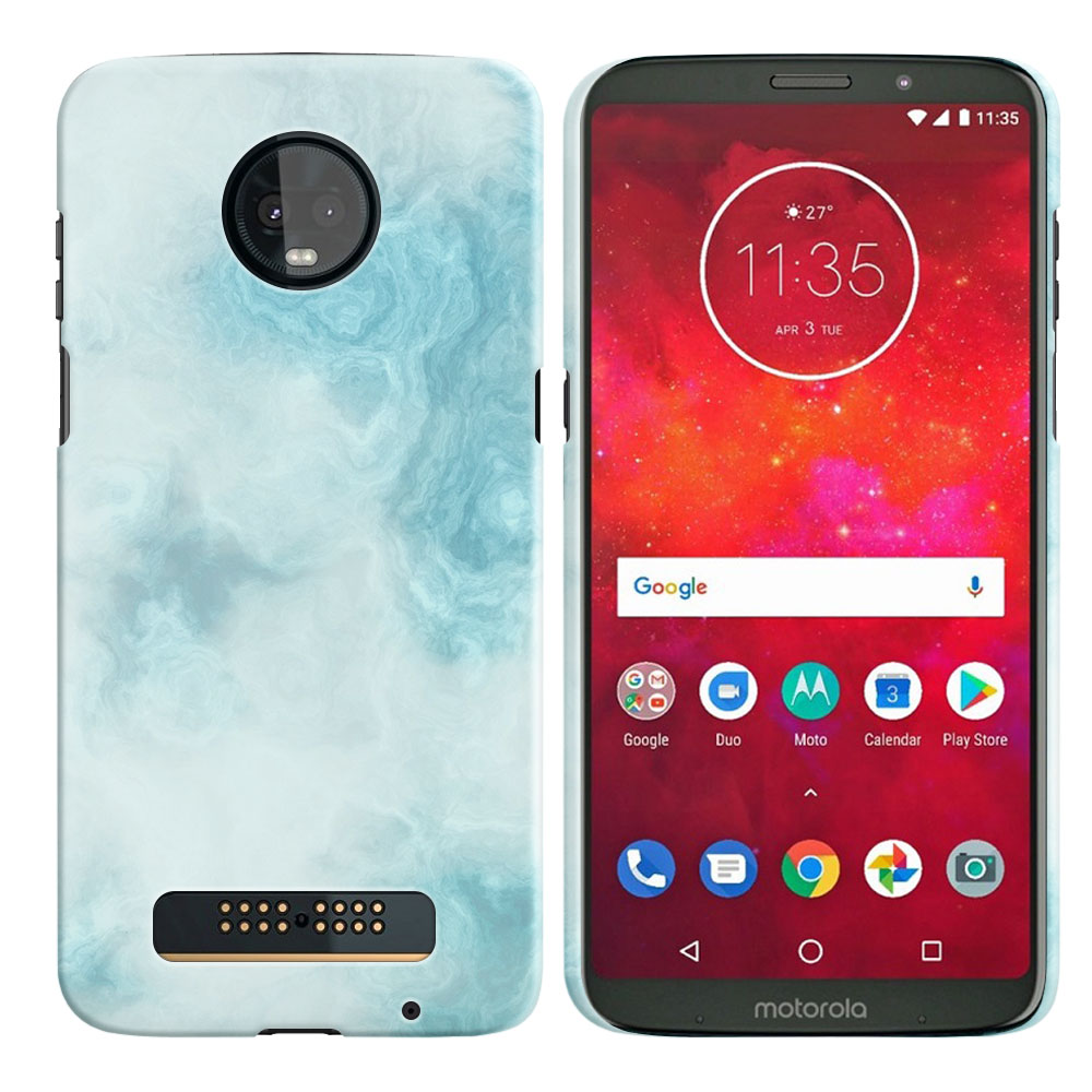 Motorola Moto Z3 Play Blue Cloudy Marble Back Cover Case