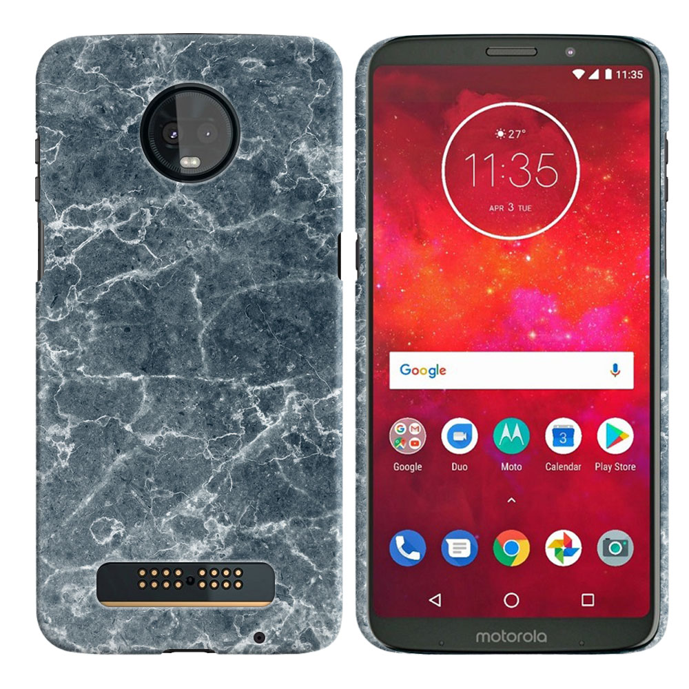 Motorola Moto Z3 Play Blue Stone Marble Back Cover Case