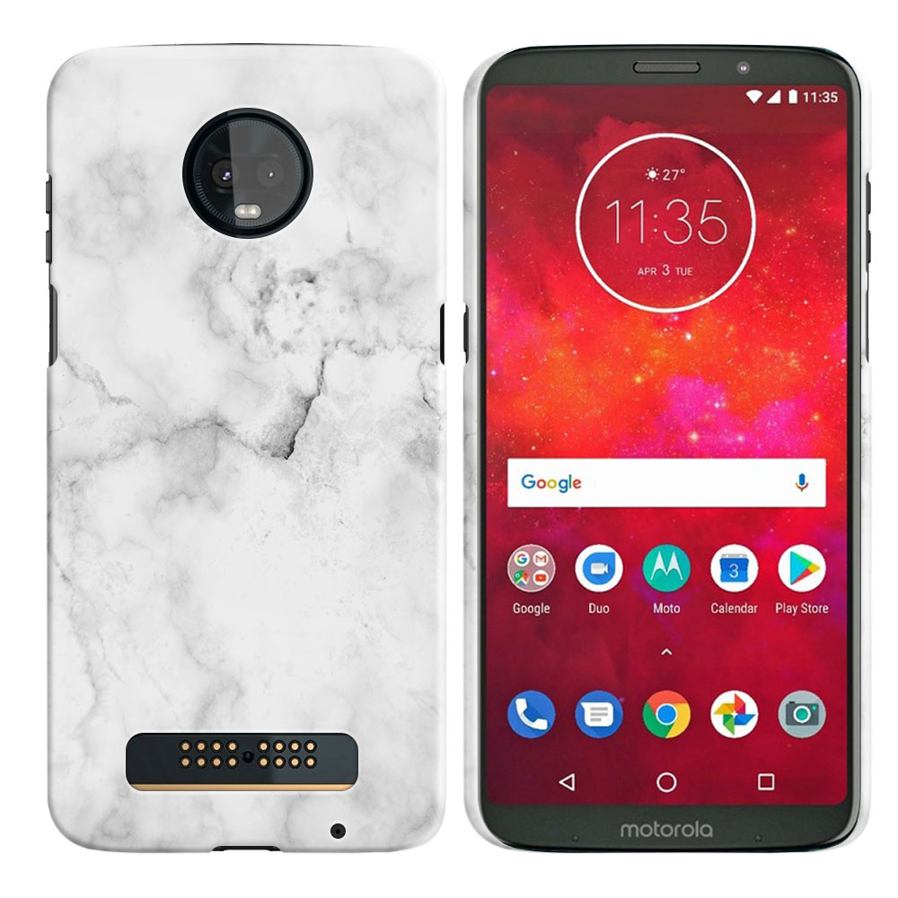 Motorola Moto Z3 Play Grey Cloudy Marble Back Cover Case