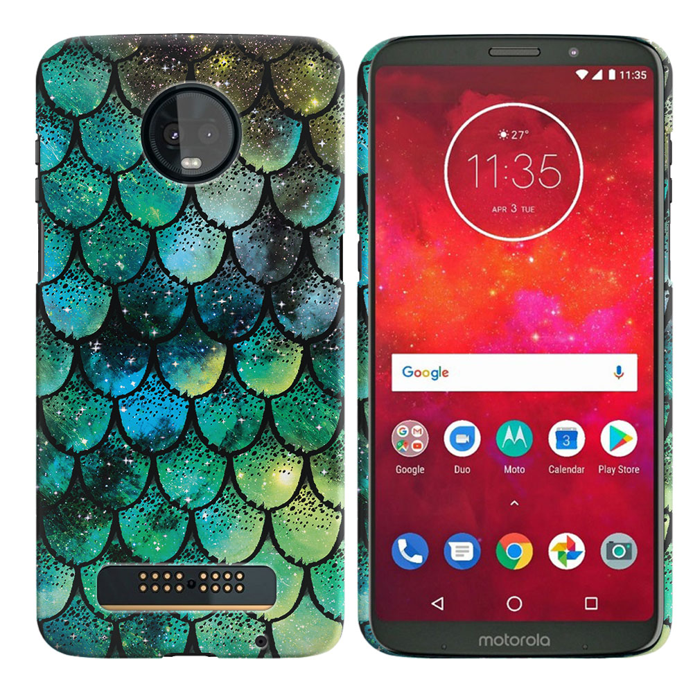 Motorola Moto Z3 Play Green Mermaid Scales Back Cover Case