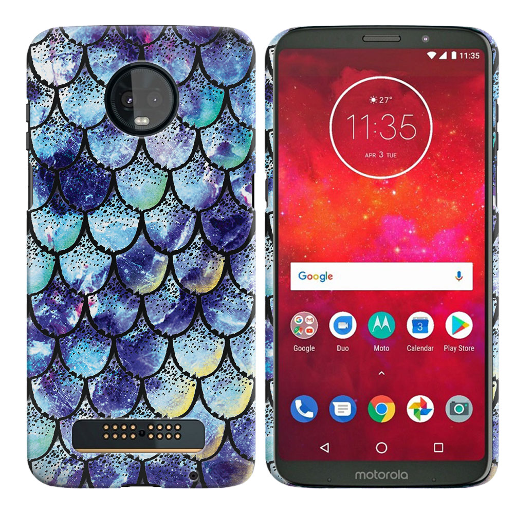 Motorola Moto Z3 Play Purple Mermaid Scales Back Cover Case
