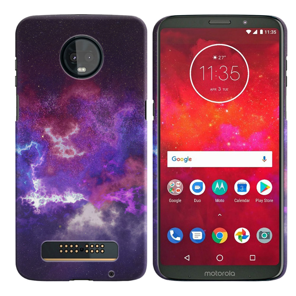 Motorola Moto Z3 Play Purple Nebula Space Back Cover Case