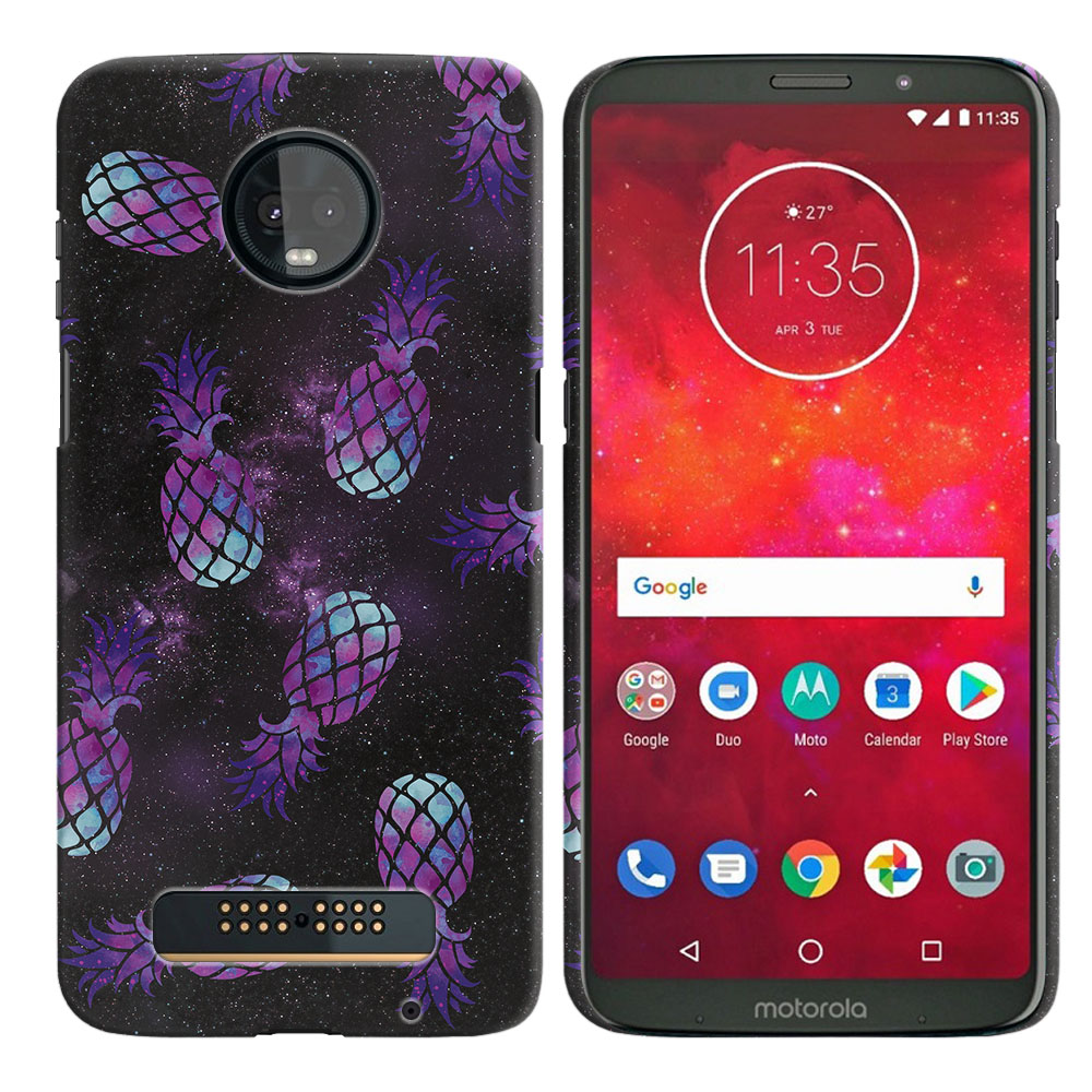 Motorola Moto Z3 Play Purple Pineapples Galaxy Back Cover Case