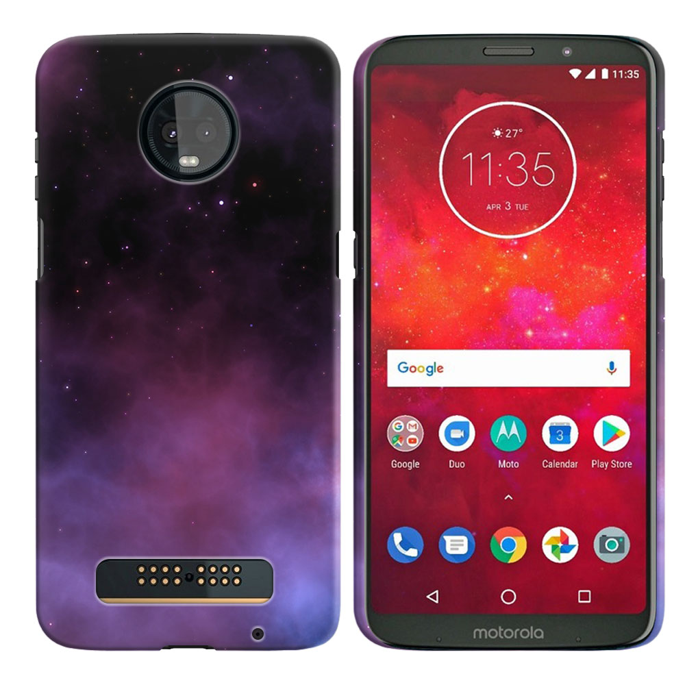 Motorola Moto Z3 Play Purple Space Stars Back Cover Case