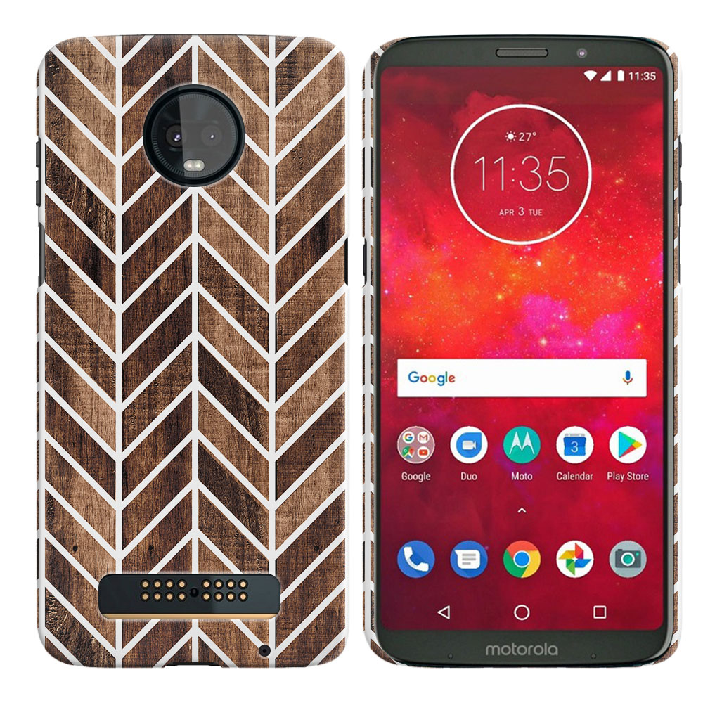 Motorola Moto Z3 Play Modern Chevron Wood Back Cover Case