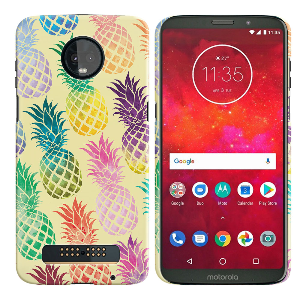 Motorola Moto Z3 Play Pastel Colorful Pineapple Yellow Pastel Back Cover Case