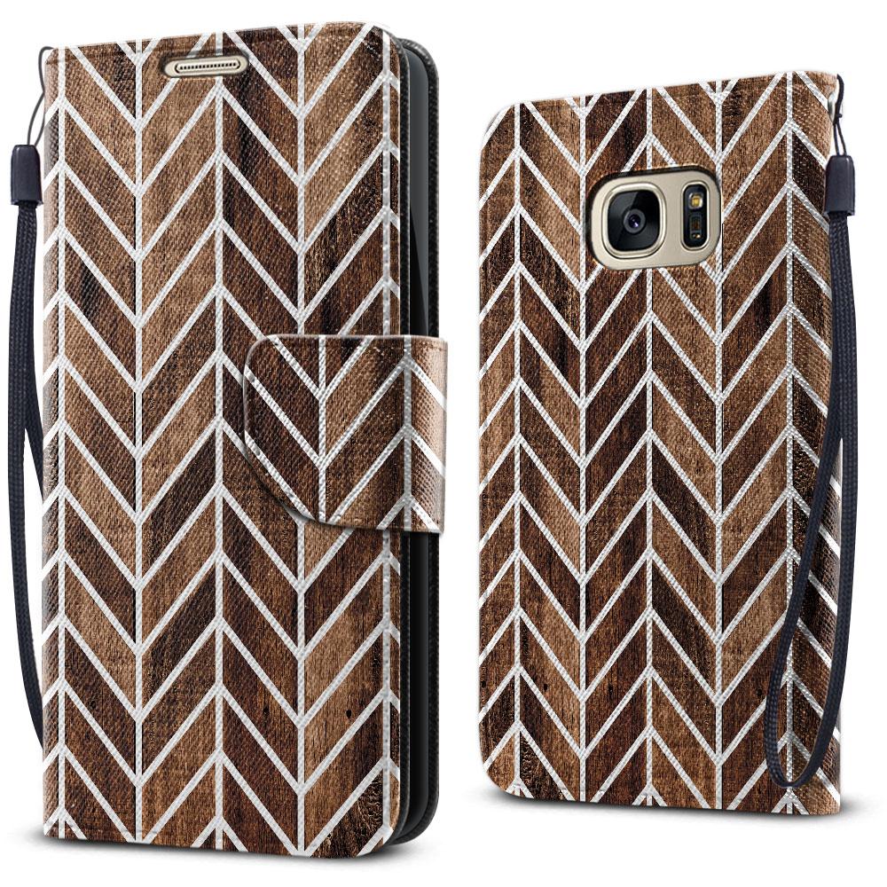 Samsung Galaxy S7 G930 Wallet Pouch Horizontal Flap Strap Modern Chevron Wood Cover Case