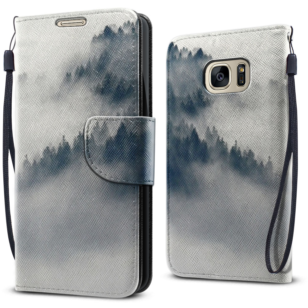 Samsung Galaxy S7 G930 Wallet Pouch Horizontal Flap Strap Winter Trees Cover Case
