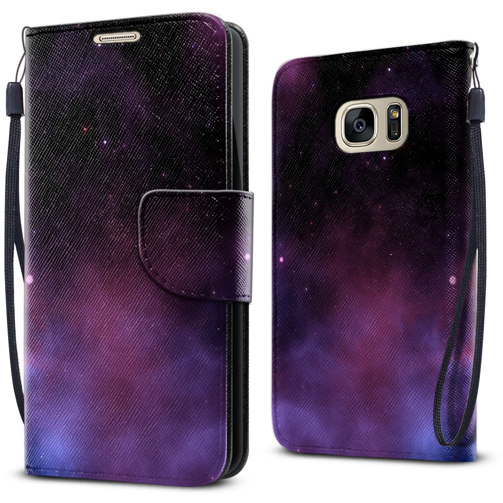 Samsung Galaxy S7 G930 Wallet Pouch Horizontal Flap Strap Purple Space Stars Cover Case