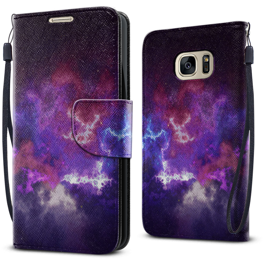 Samsung Galaxy S7 G930 Wallet Pouch Horizontal Flap Strap Purple Nebula Space Cover Case