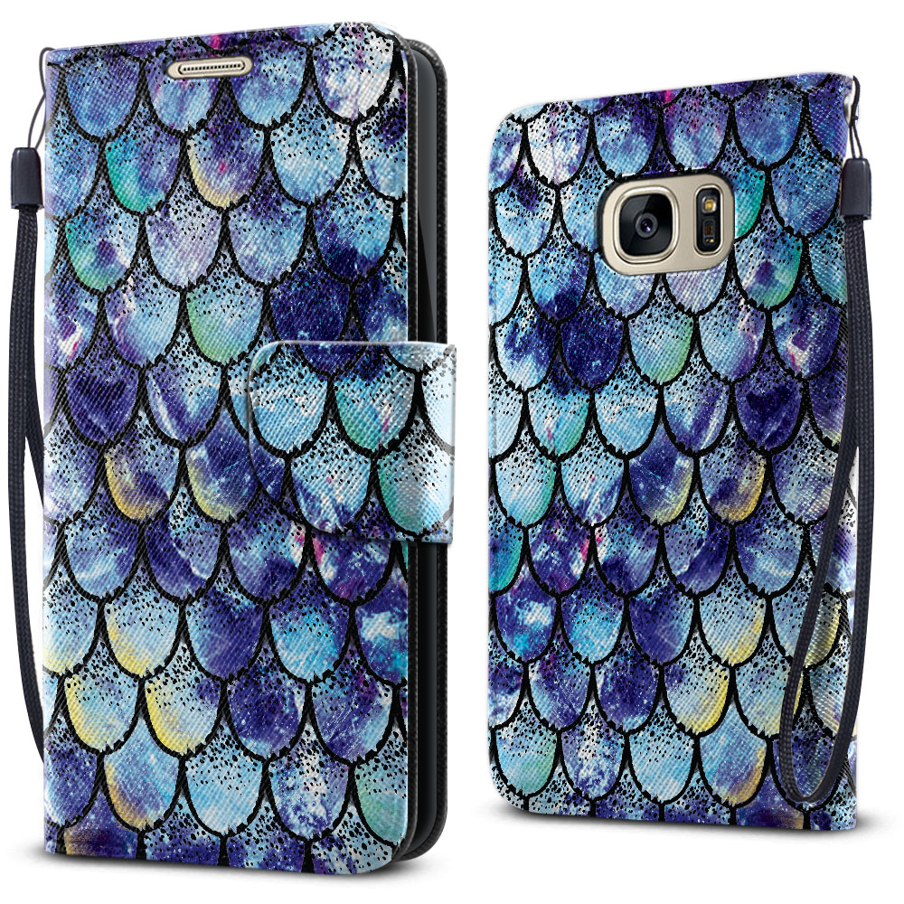 Samsung Galaxy S7 G930 Wallet Pouch Horizontal Flap Strap Purple Mermaid Scales Cover Case