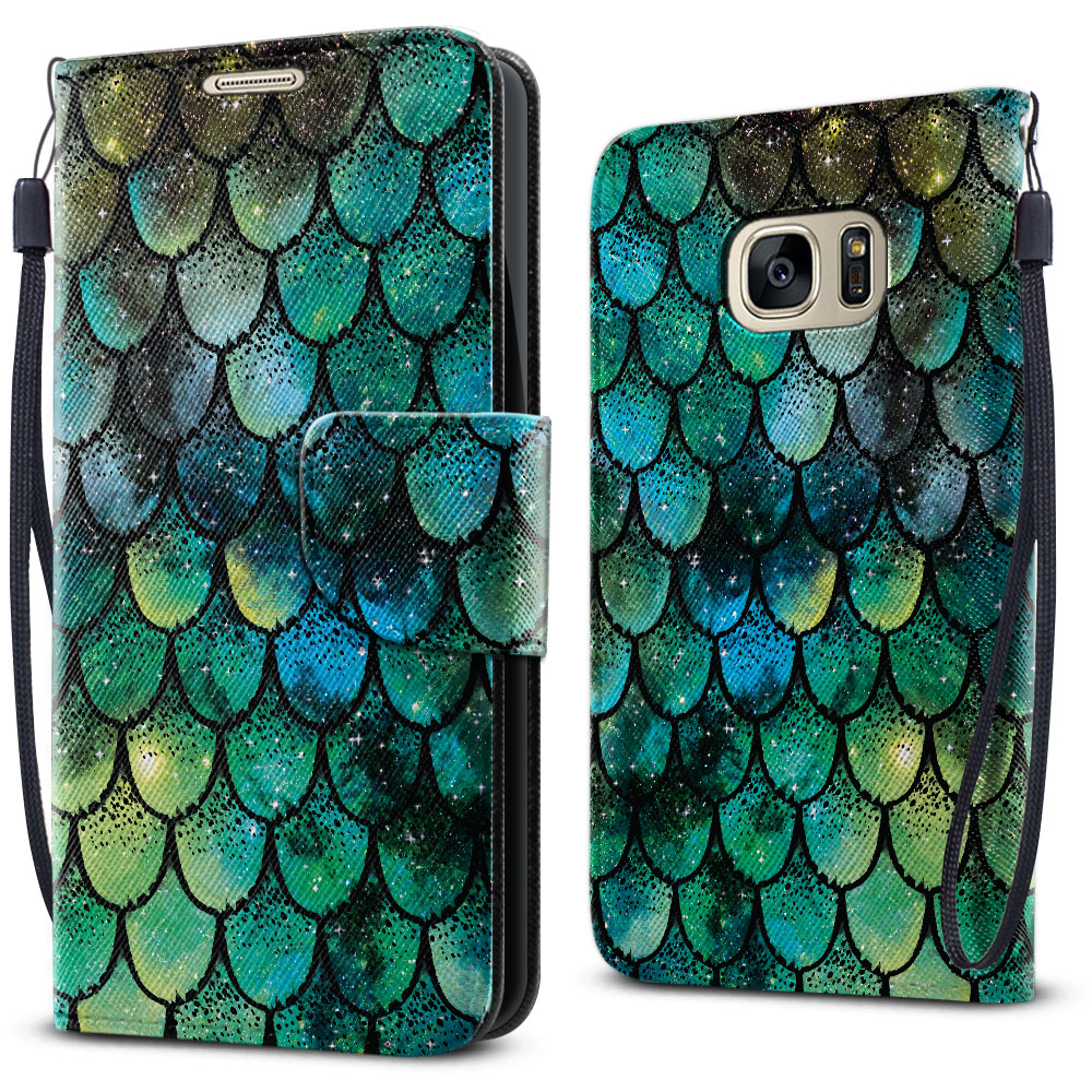 Samsung Galaxy S7 G930 Wallet Pouch Horizontal Flap Strap Green Mermaid Scales Cover Case