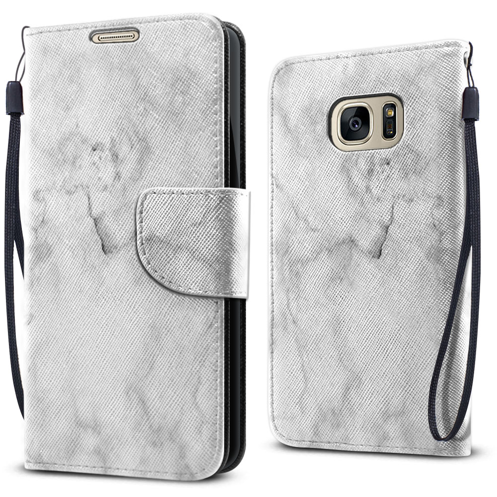 Samsung Galaxy S7 G930 Wallet Pouch Horizontal Flap Strap Grey Cloudy Marble Cover Case