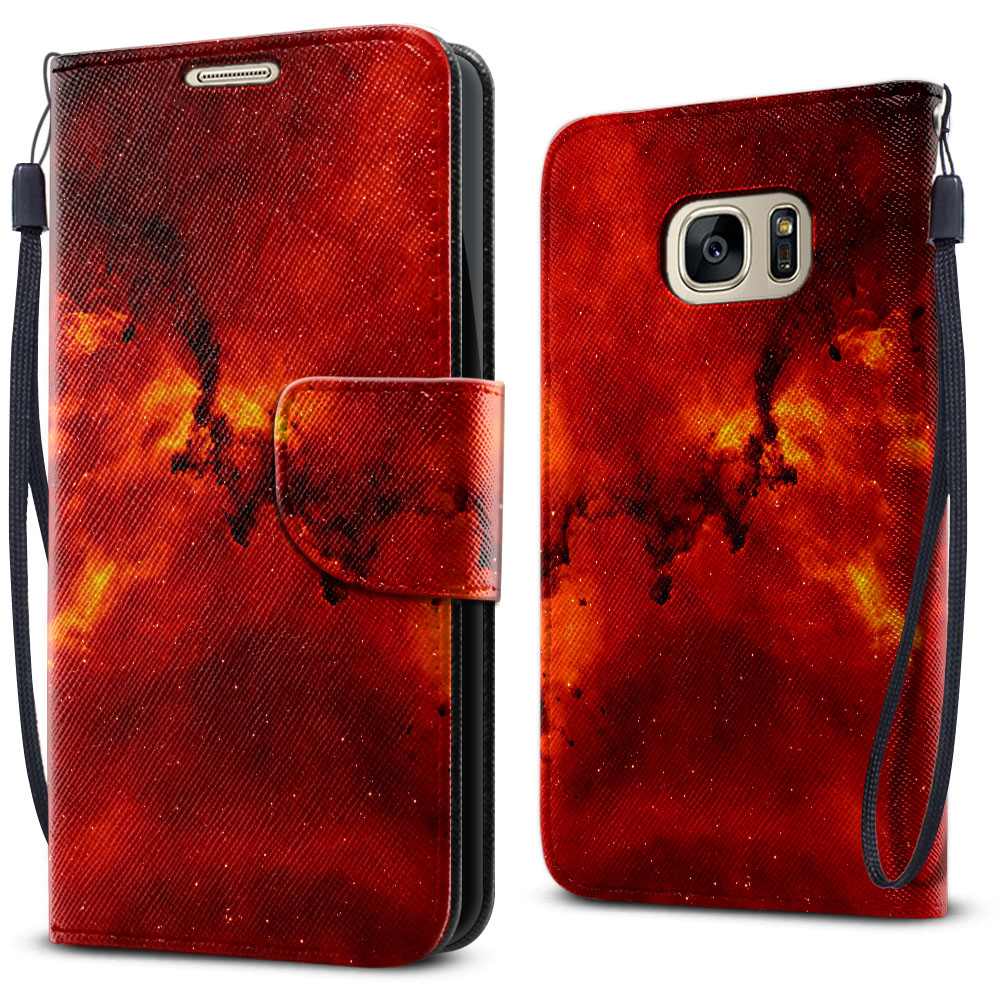 Samsung Galaxy S7 G930 Wallet Pouch Horizontal Flap Strap Fiery Galaxy Cover Case