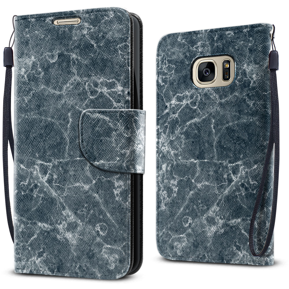 Samsung Galaxy S7 G930 Wallet Pouch Horizontal Flap Strap Blue Stone Marble Cover Case