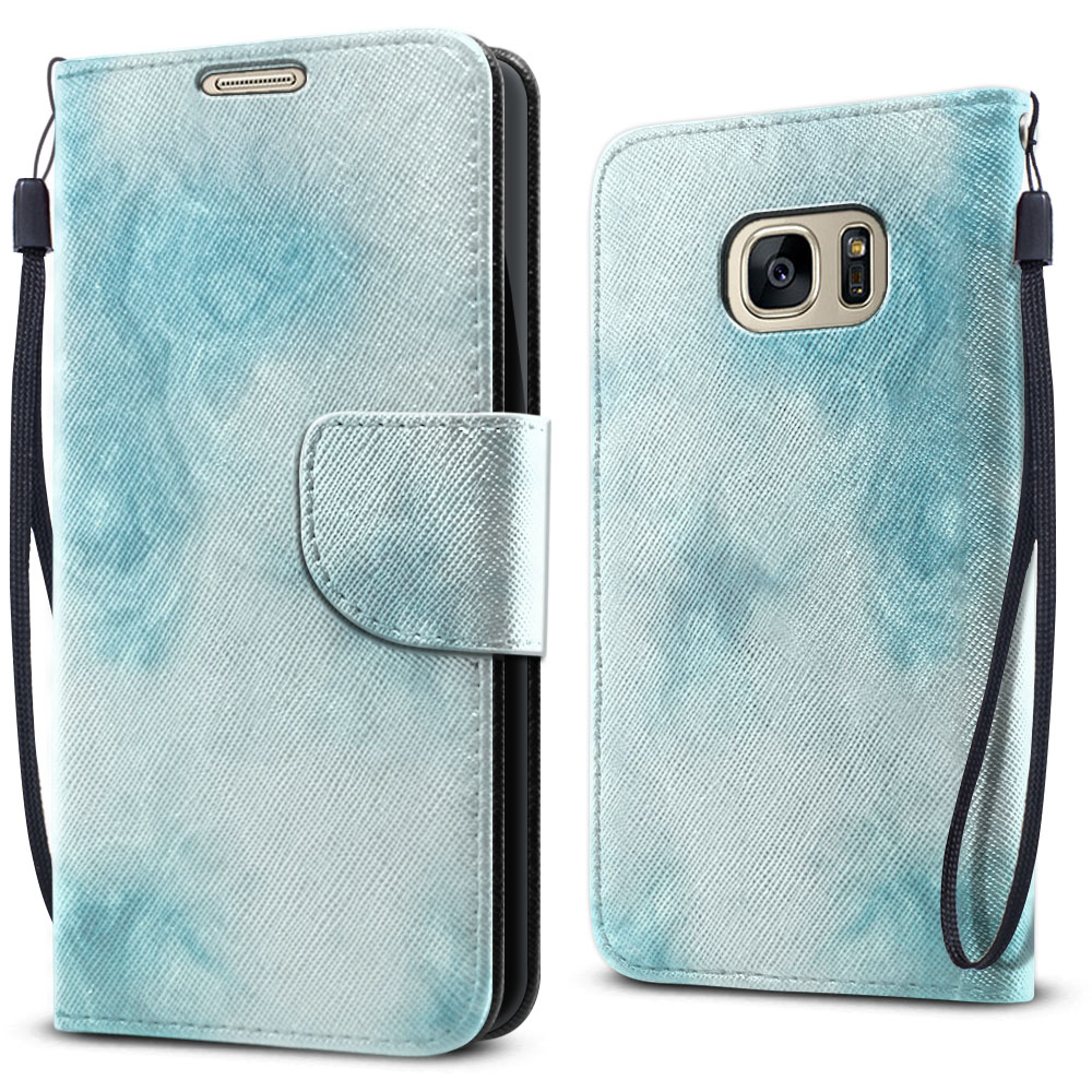Samsung Galaxy S7 G930 Wallet Pouch Horizontal Flap Strap Blue Cloudy Marble Cover Case