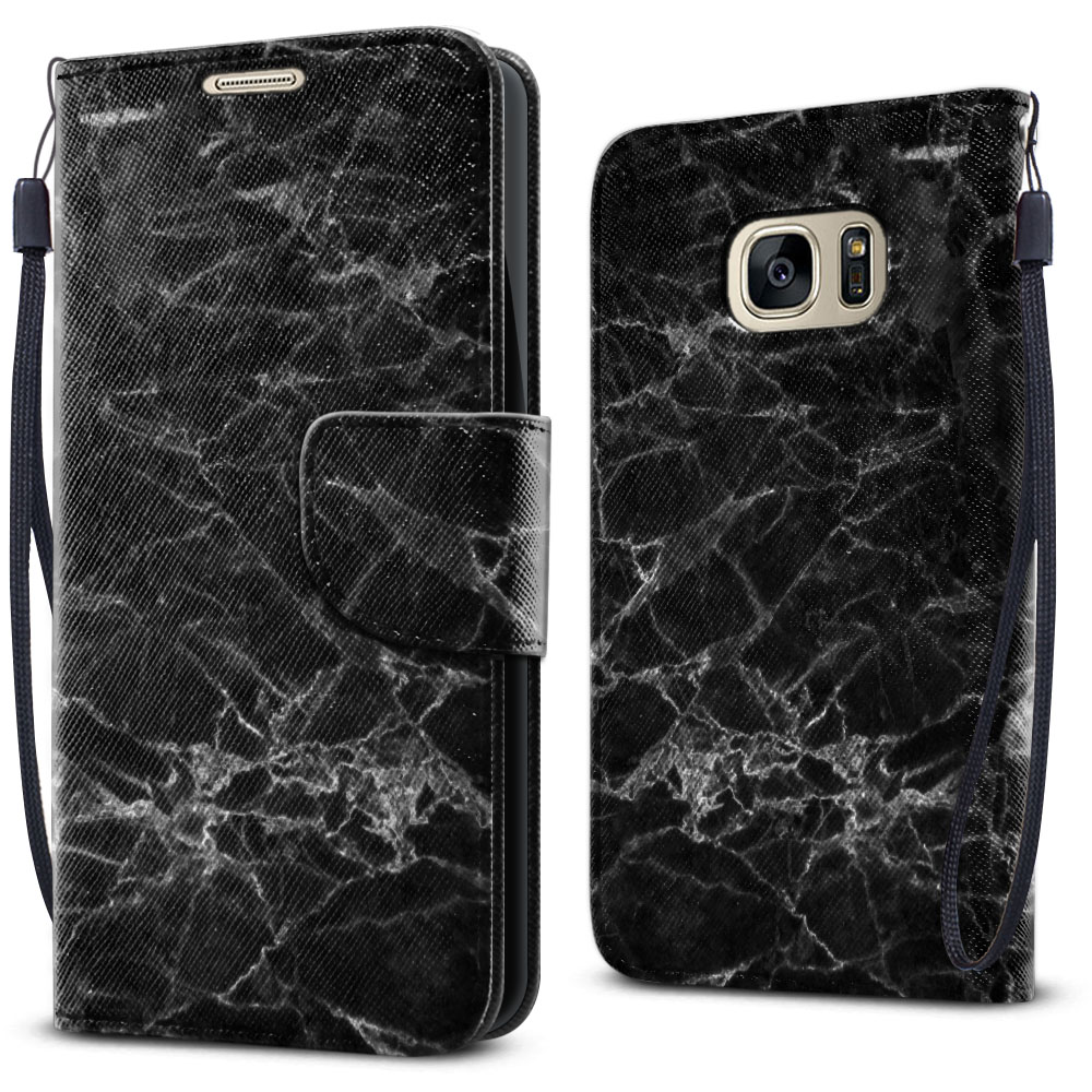Samsung Galaxy S7 G930 Wallet Pouch Horizontal Flap Strap Black Stone Marble Cover Case