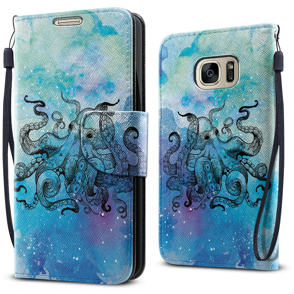 Samsung Galaxy S7 G930 Wallet Pouch Horizontal Flap Strap Blue Water Octopus Cover Case