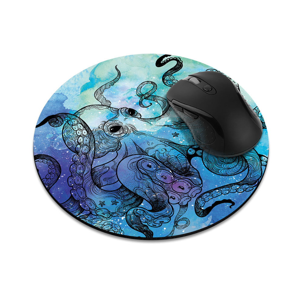 Blue Water Octopus Round Mousepad