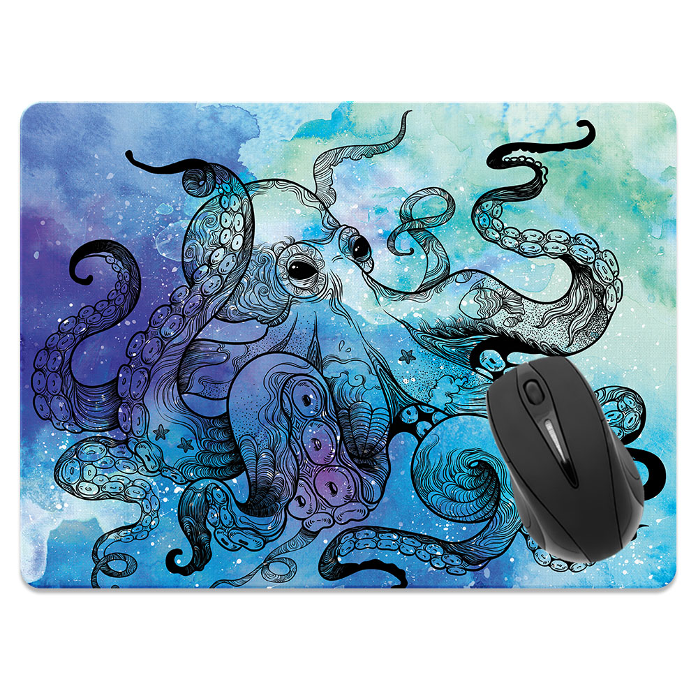Blue Water Octopus Large Rectangle Mousepad