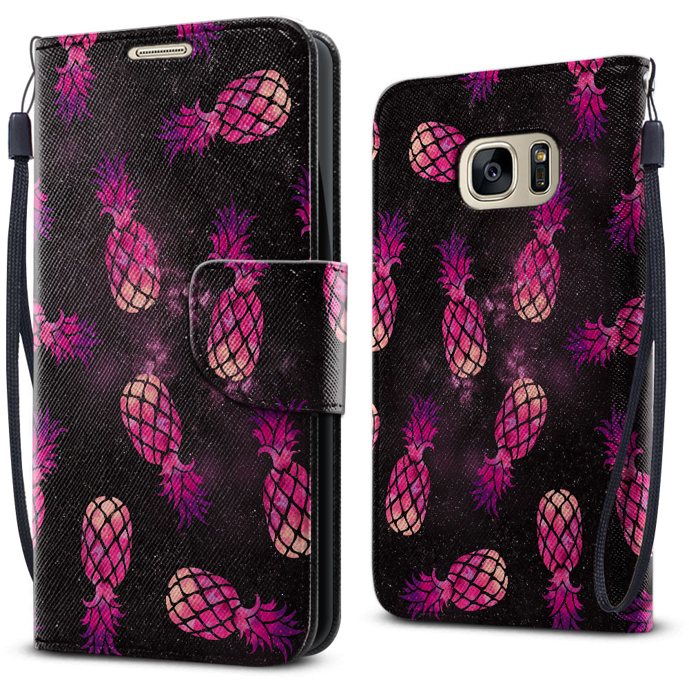 Samsung Galaxy S7 G930 Wallet Pouch Horizontal Flap Strap Hot Pink Pineapple Pattern In Galaxy Cover Case