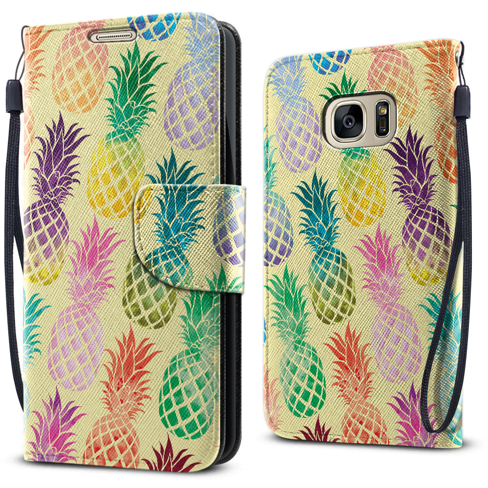 Samsung Galaxy S7 G930 Wallet Pouch Horizontal Flap Strap Pastel Colorful Pineapple Yellow Pastel Cover Case