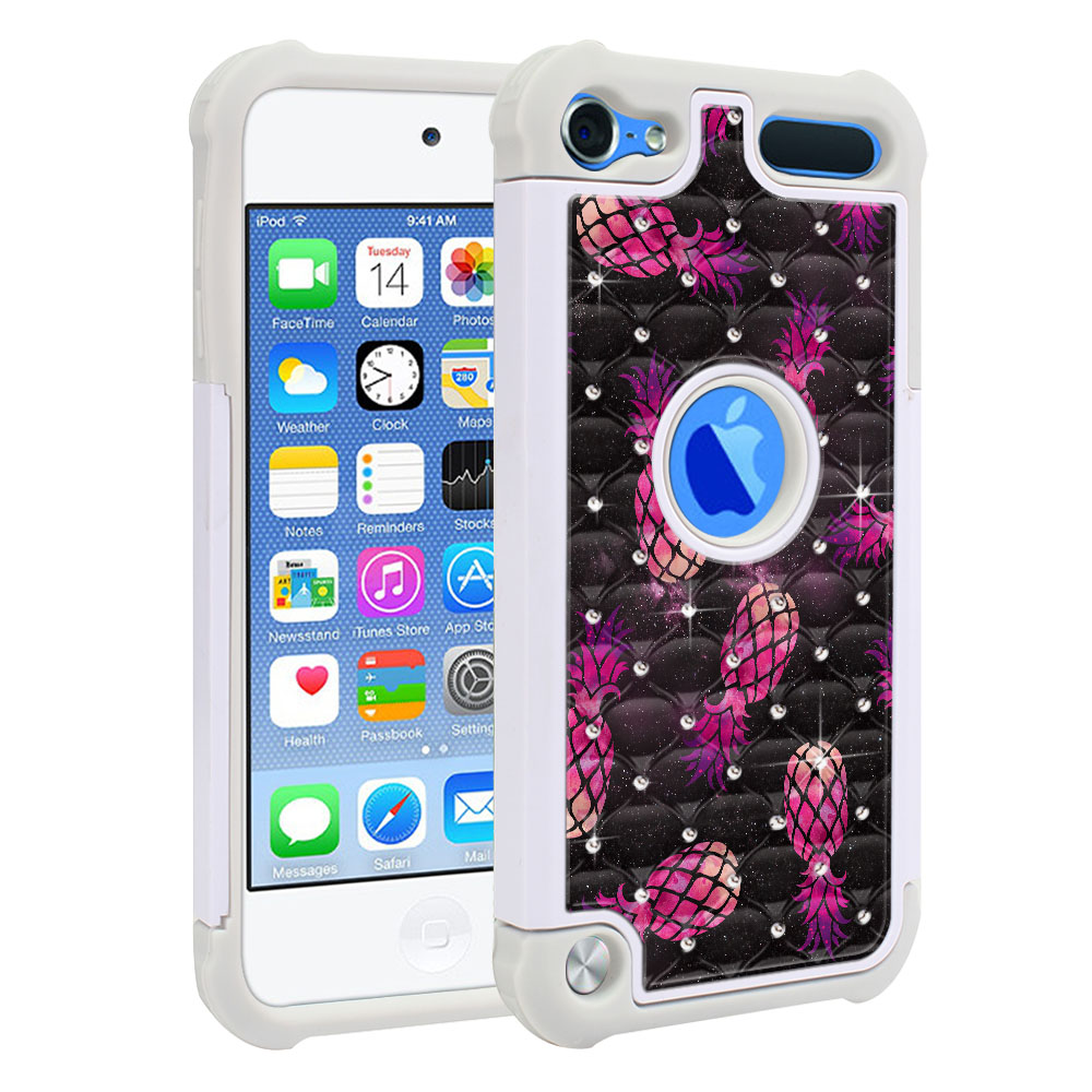 Apple iPod Touch 6 (6th Generation) Hybrid Total Defense Some Rhinestones Hot Pink Pineapple Pattern In Galaxy Protector Cover Case