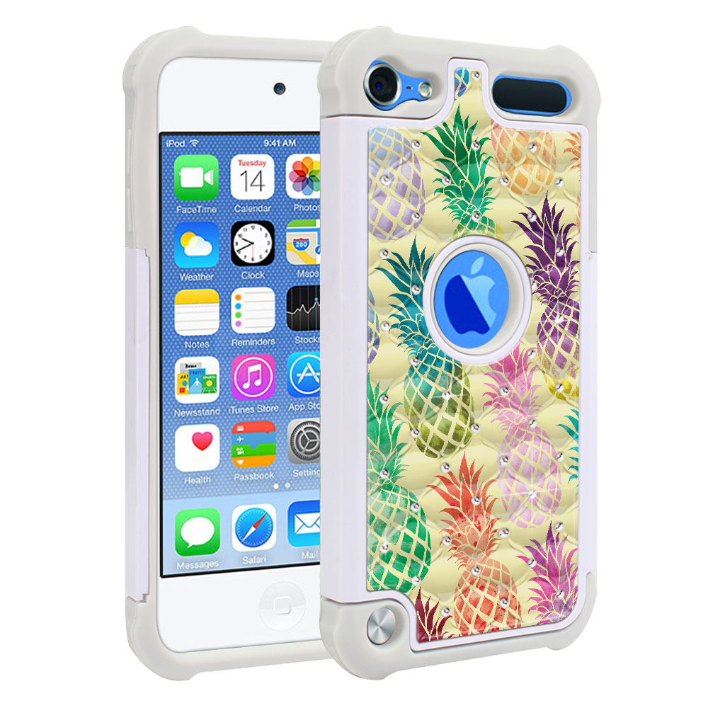 Apple iPod Touch 6 (6th Generation) Hybrid Total Defense Some Rhinestones Pastel Colorful Pineapple Yellow Pastel Protector Cover Case