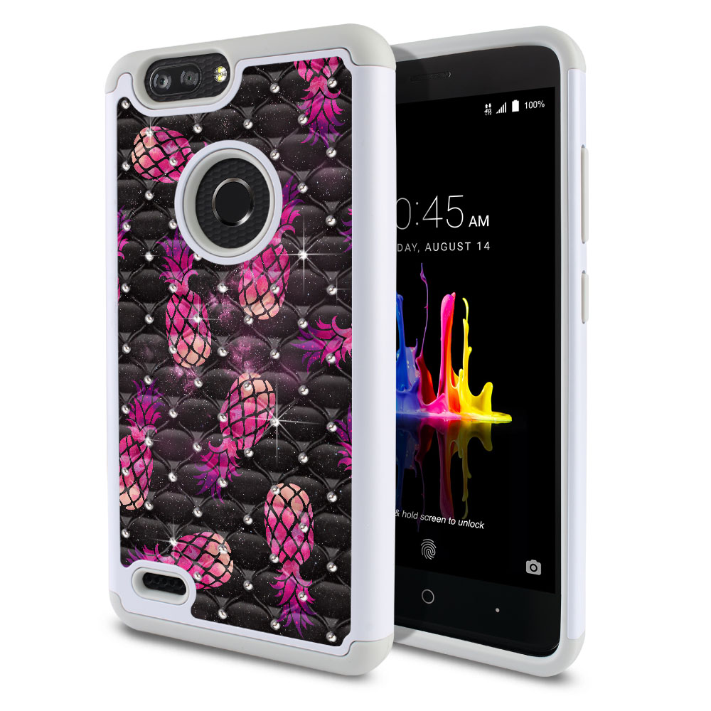 ZTE Blade Z Max Z982/ Sequoia Hybrid Total Defense Some Rhinestones Hot Pink Pineapple Pattern In Galaxy Protector Cover Case