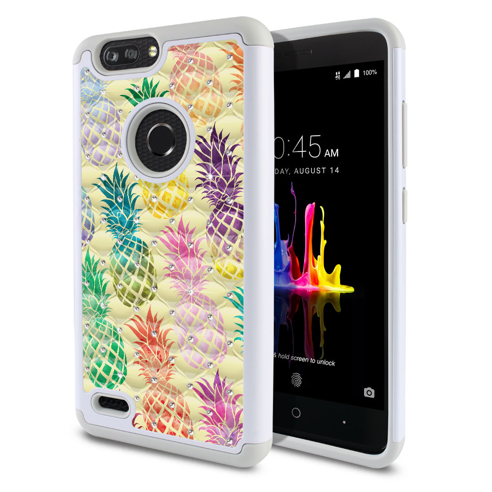 ZTE Blade Z Max Z982/ Sequoia Hybrid Total Defense Some Rhinestones Pastel Colorful Pineapple Yellow Pastel Protector Cover Case