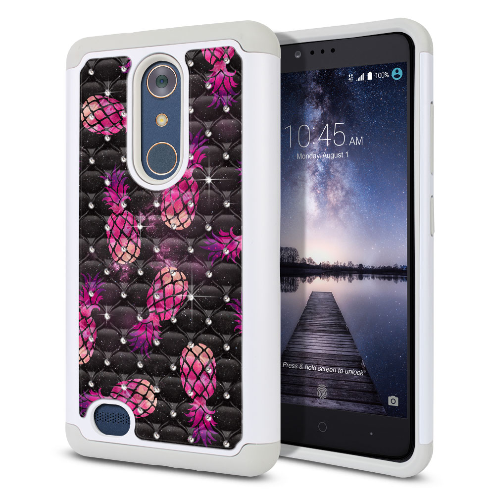 ZTE Zmax Pro Carry Z981 Hybrid Total Defense Some Rhinestones Hot Pink Pineapple Pattern In Galaxy Protector Cover Case