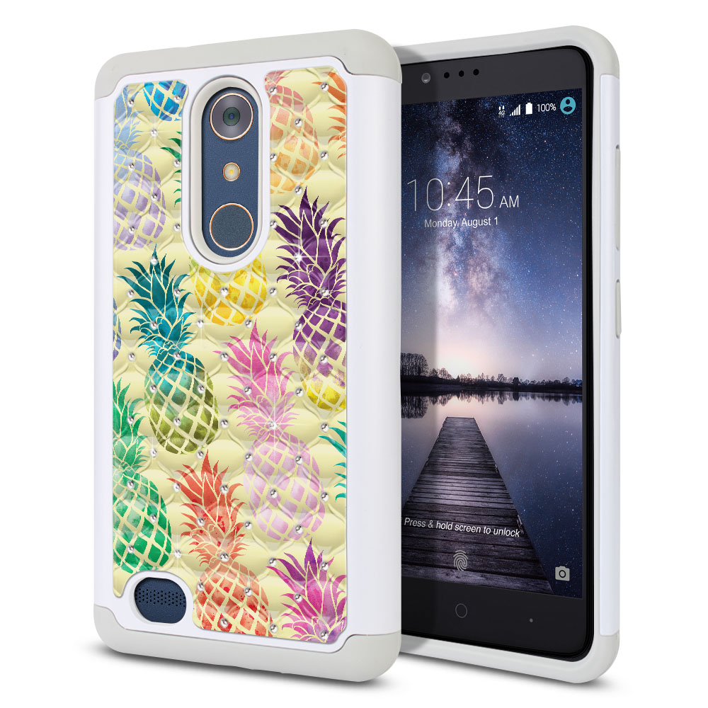 ZTE Zmax Pro Carry Z981 Hybrid Total Defense Some Rhinestones Pastel Colorful Pineapple Yellow Pastel Protector Cover Case