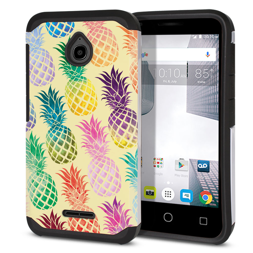 Alcatel Dawn 5027/ Acquire/ Streak/ Ideal 4060A Hybrid Slim Fusion Pastel Colorful Pineapple Yellow Pastel Protector Cover Case