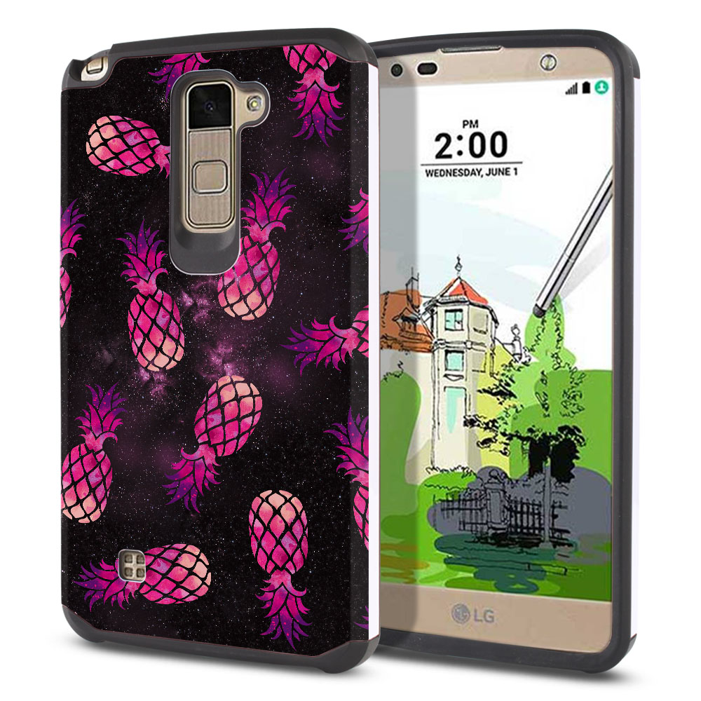 LG Stylus 2 Plus Stylo 2 Plus MS550 K550 K530 K535 Hybrid Slim Fusion Hot Pink Pineapple Pattern In Galaxy Protector Cover Case