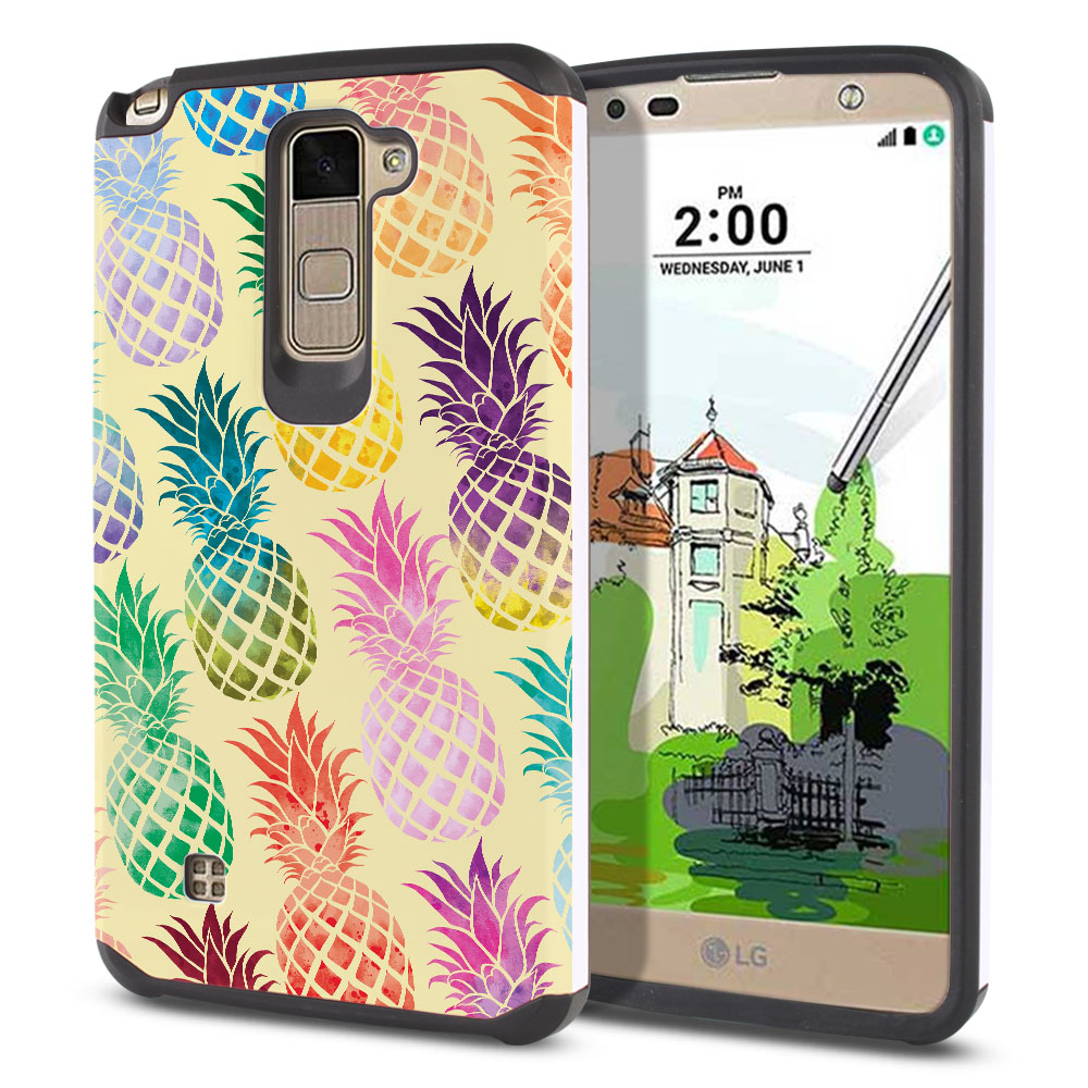 LG Stylus 2 Plus Stylo 2 Plus MS550 K550 K530 K535 Hybrid Slim Fusion Pastel Colorful Pineapple Yellow Pastel Protector Cover Case