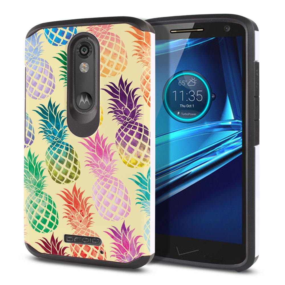 Motorola Droid Turbo 2 Kinzie XT1585 Hybrid Slim Fusion Pastel Colorful Pineapple Yellow Pastel Protector Cover Case