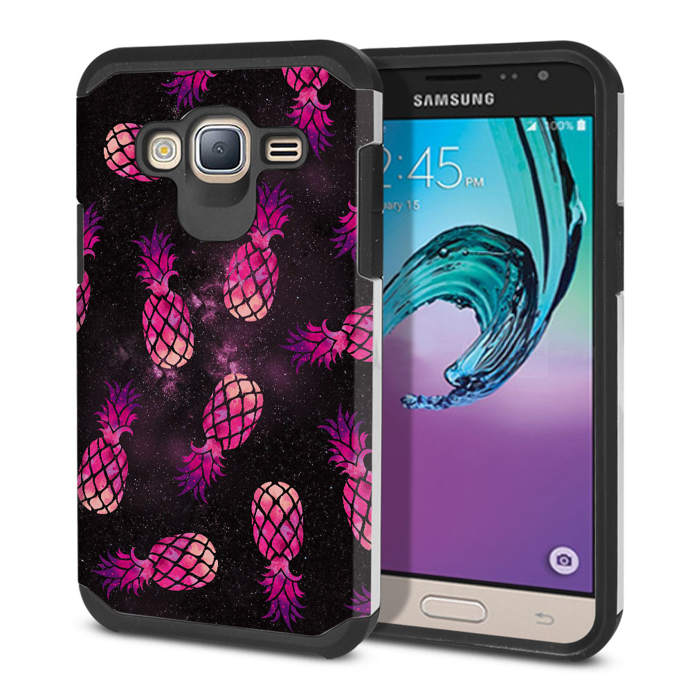 Samsung Galaxy J3 J310 J320 Hybrid Slim Fusion Hot Pink Pineapple Pattern In Galaxy Protector Cover Case