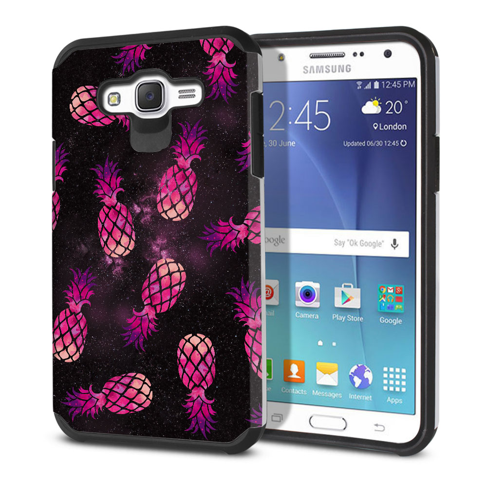 Samsung Galaxy J7 J700 Hybrid Slim Fusion Hot Pink Pineapple Pattern In Galaxy Protector Cover Case