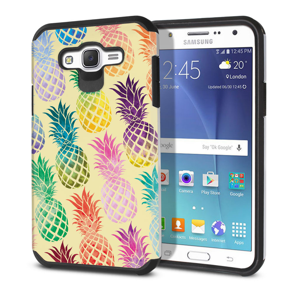 Samsung Galaxy J7 J700 Hybrid Slim Fusion Pastel Colorful Pineapple Yellow Pastel Protector Cover Case