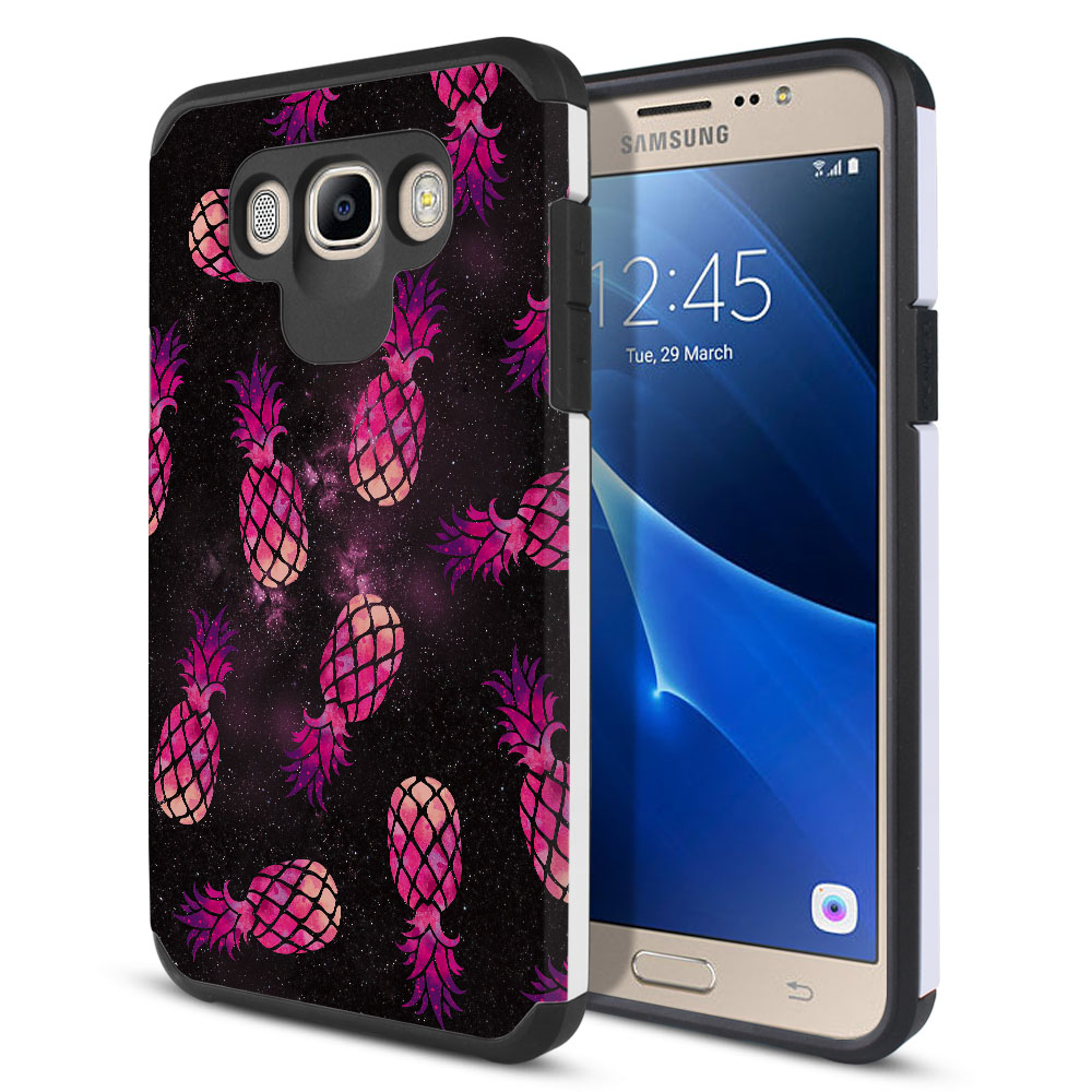 Samsung Galaxy J7 J710 2nd Gen 2016 Hybrid Slim Fusion Hot Pink Pineapple Pattern In Galaxy Protector Cover Case