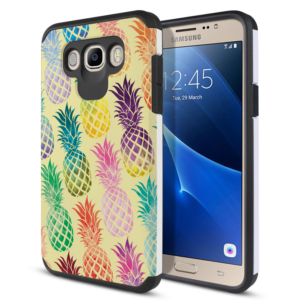 Samsung Galaxy J7 J710 2nd Gen 2016 Hybrid Slim Fusion Pastel Colorful Pineapple Yellow Pastel Protector Cover Case