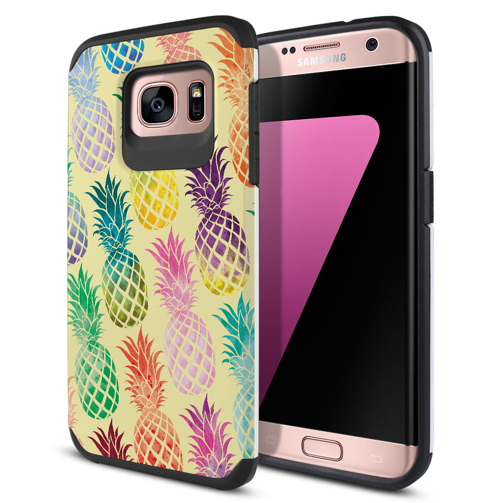 Samsung Galaxy S7 Edge G935 Hybrid Slim Fusion Pastel Colorful Pineapple Yellow Pastel Protector Cover Case