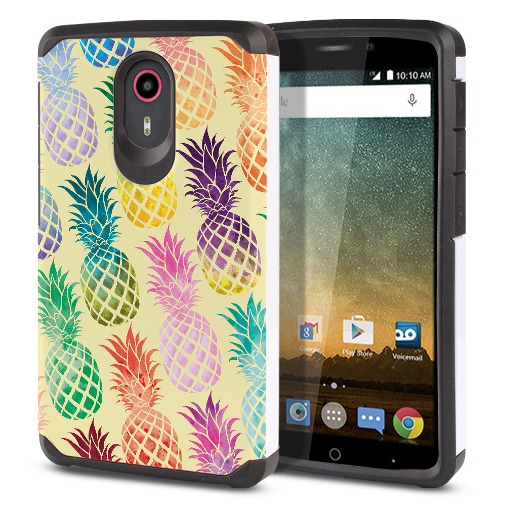ZTE N817 Quest Uhura Hybrid Slim Fusion Pastel Colorful Pineapple Yellow Pastel Protector Cover Case