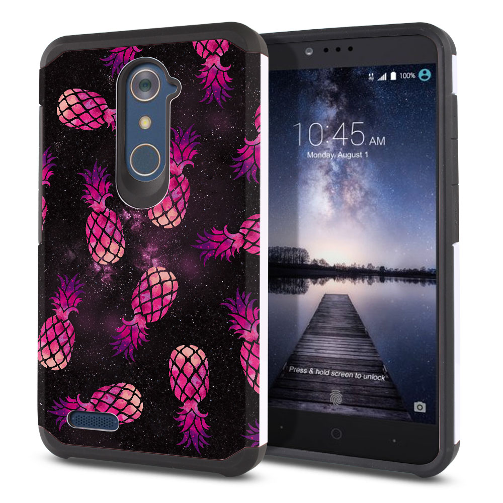ZTE Zmax Pro Carry Z981 Hybrid Slim Fusion Hot Pink Pineapple Pattern In Galaxy Protector Cover Case