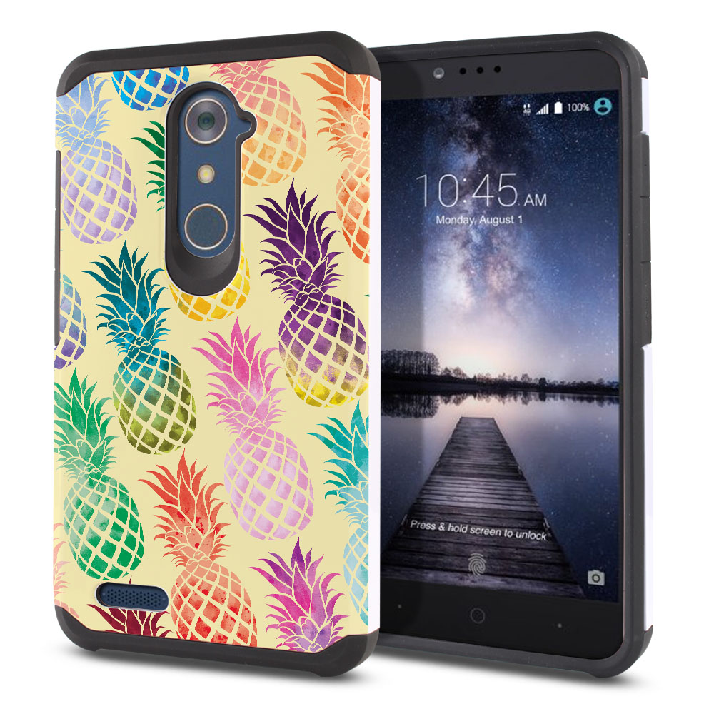 ZTE Zmax Pro Carry Z981 Hybrid Slim Fusion Pastel Colorful Pineapple Yellow Pastel Protector Cover Case