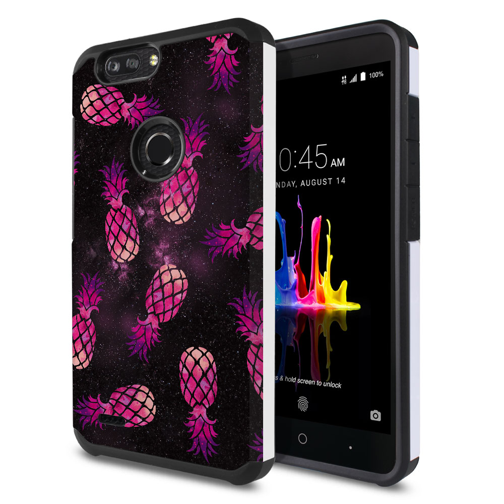 ZTE Blade Z Max Z982/ Sequoia Hybrid Slim Fusion Hot Pink Pineapple Pattern In Galaxy Protector Cover Case