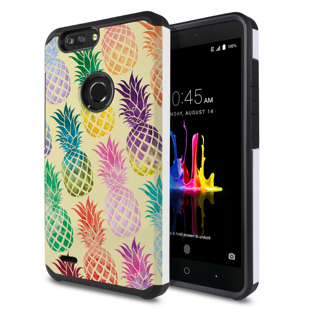 ZTE Blade Z Max Z982/ Sequoia Hybrid Slim Fusion Pastel Colorful Pineapple Yellow Pastel Protector Cover Case