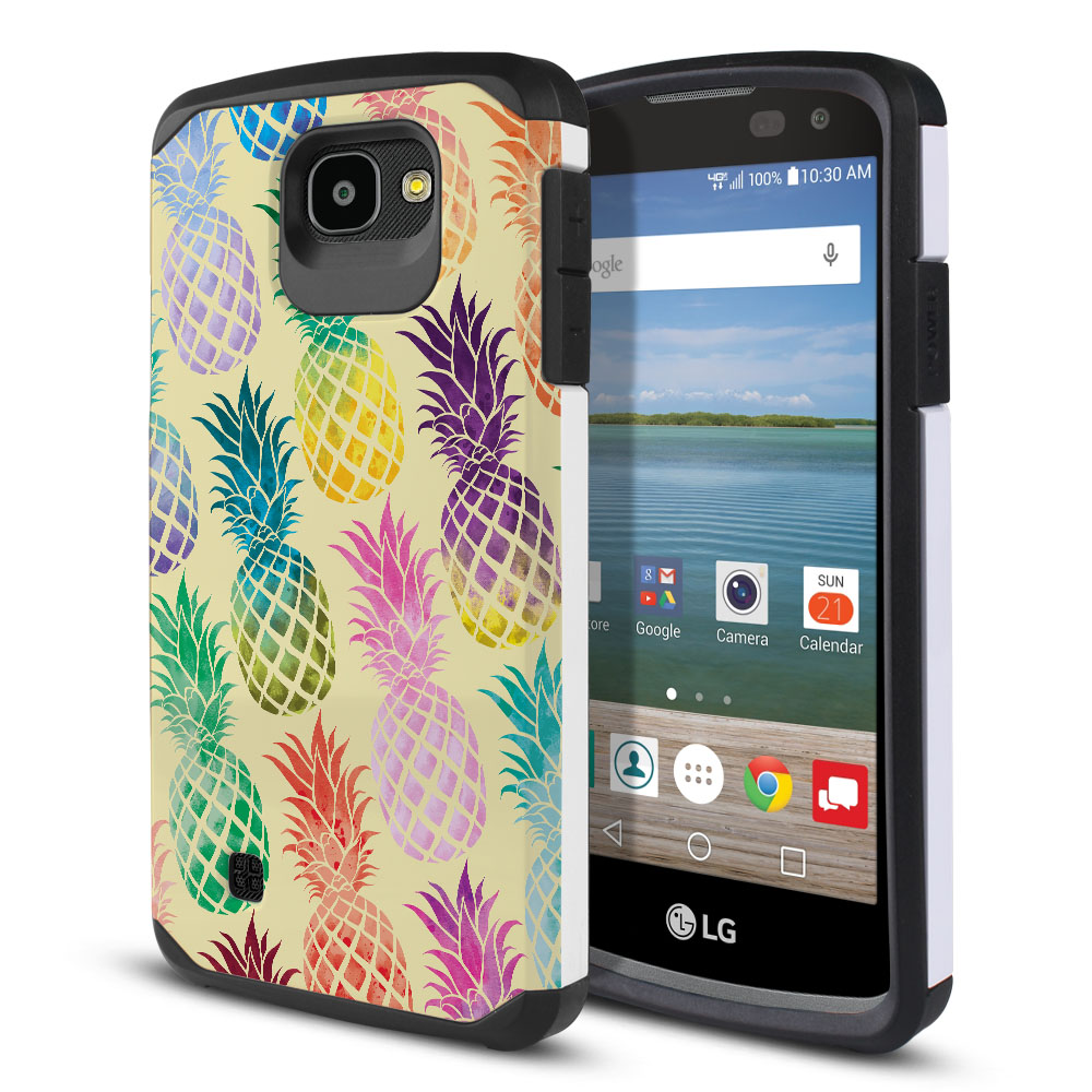 LG Optimus Zone 3 VS425PP Hybrid Slim Fusion Pastel Colorful Pineapple Yellow Pastel Protector Cover Case