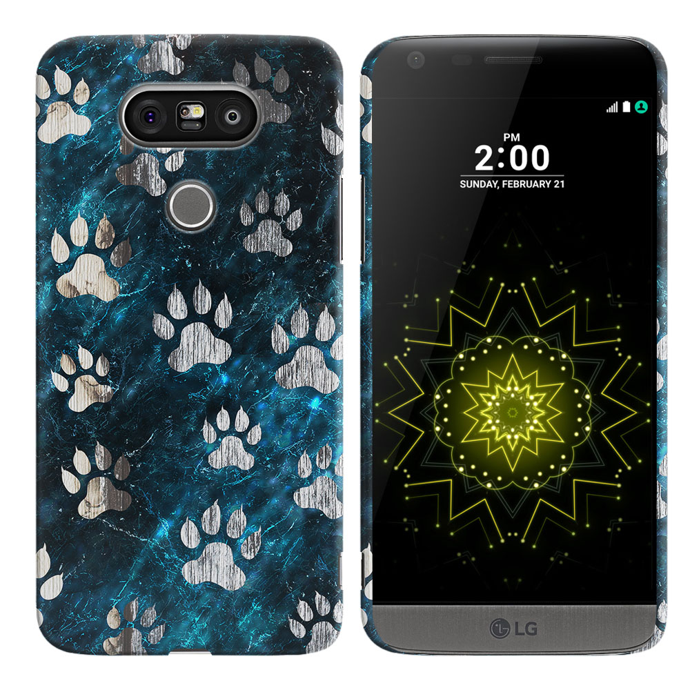 LG G5 H850 VS987 Silver Dog Paws Back Cover Case